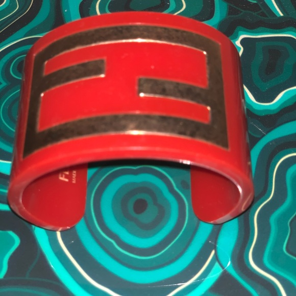 Rare Vintage Fendi FF Monogram Zucca Logo Cuff